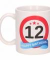 Verjaardag 12 jaar verkeersbord mok beker