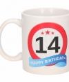 Verjaardag 14 jaar verkeersbord mok beker