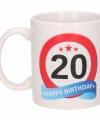 Verjaardag 20 jaar verkeersbord mok beker