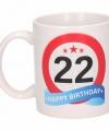 Verjaardag 22 jaar verkeersbord mok beker