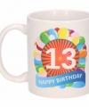 Verjaardag ballonnen mok beker 13 jaar