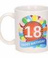 Verjaardag ballonnen mok beker 18 jaar