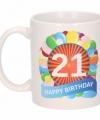 Verjaardag ballonnen mok beker 21 jaar