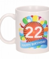Verjaardag ballonnen mok beker 22 jaar