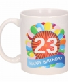 Verjaardag ballonnen mok beker 23 jaar