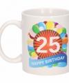 Verjaardag ballonnen mok beker 25 jaar