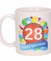 Verjaardag ballonnen mok beker 28 jaar