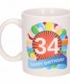 Verjaardag ballonnen mok beker 34 jaar