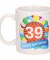 Verjaardag ballonnen mok beker 39 jaar