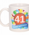 Verjaardag ballonnen mok beker 41 jaar