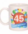 Verjaardag ballonnen mok beker 45 jaar