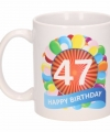 Verjaardag ballonnen mok beker 47 jaar