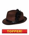 Voordelige bruine kojak hoed zwarte veer