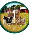 Wandklok boerderijdieren groen 25