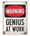 Wit muurplaatje warning genius at work