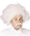 Witte einstein pruik snor