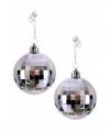 Zilveren discobal oorbellen