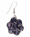 Zilveren oorbellen blauwe steentjes chunk