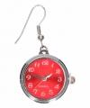 Zilveren oorbellen rode klok chunk