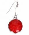 Zilveren oorbellen rode steen chunk