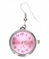 Zilveren oorbellen roze klok chunk