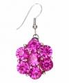 Zilveren oorbellen roze steentjes chunk