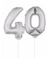 Zilveren opblaas cijfer 40 op stokjes