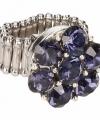 Zilveren ring blauwe steentjes chunk