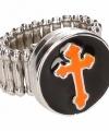 Zilveren ring oranje kruis chunk