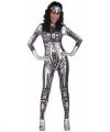 Zilveren robot jumpsuit dames