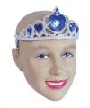 Zilveren tiara blauwe stenen