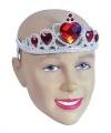 Zilveren tiara rode stenen