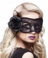 Zwart oogmasker roos dames