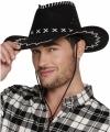 Zwarte cowboyhoed elroy lederlook volwassenen