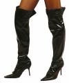 Zwarte glimmende laarshoezen dames