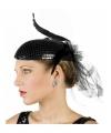 Zwarte jaren twintig hoed pailletten