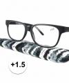 Zwarte leesbril 1 5 stoffen hoesje