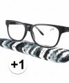 Zwarte leesbril 1 stoffen hoesje