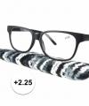 Zwarte leesbril 2 25 stoffen hoesje