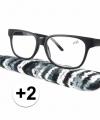 Zwarte leesbril 2 stoffen hoesje