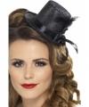 Zwarte mini hoge hoed veer