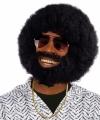 Zwarte ronde afro pruik baard