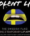 Zweden lip tattoo zweedse vlag